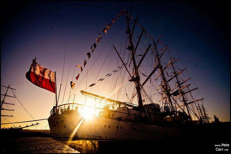 Tall Ships at sunset