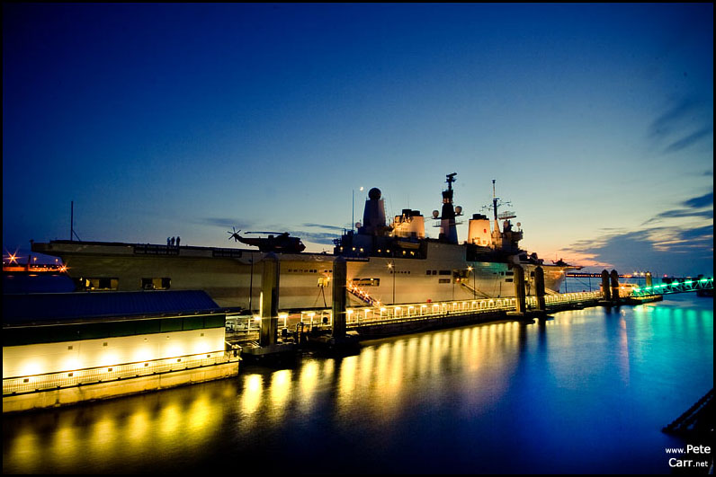 HMS Ark Royal at dusk