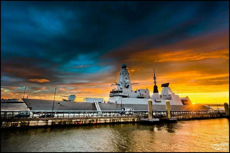 HMS Daring at sunset