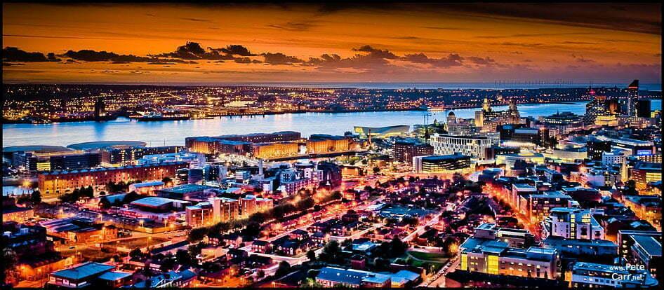 Liverpool skyline at sunset