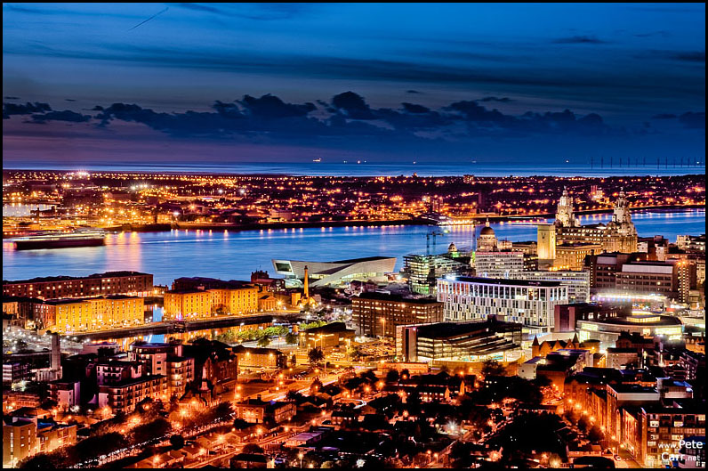 Liverpool skyline at dusk