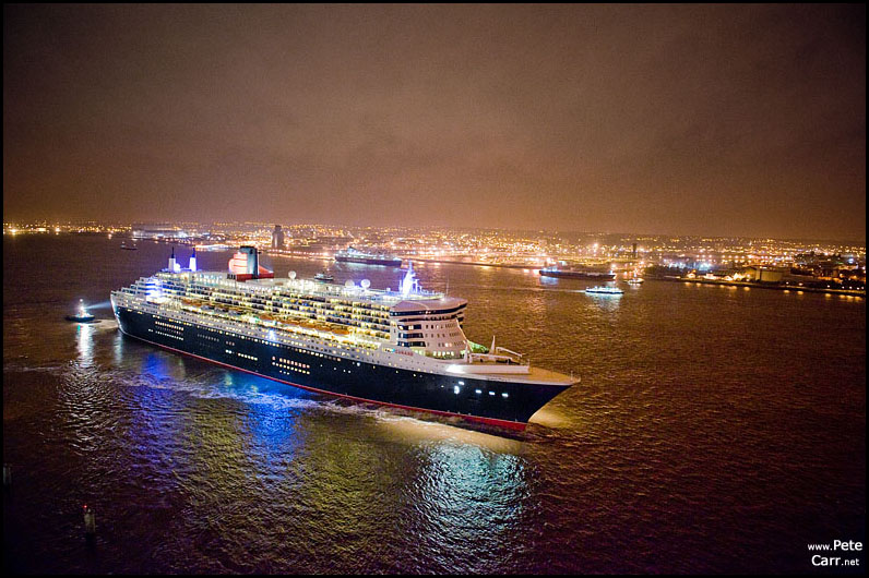 Queen Mary 2 leaving Liverpool
