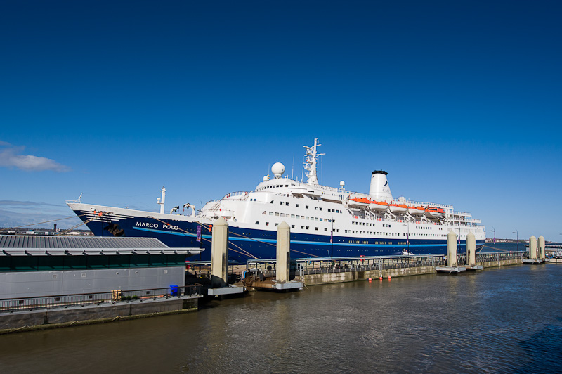 Cruise liner Marco Polo visits Liverpool.
