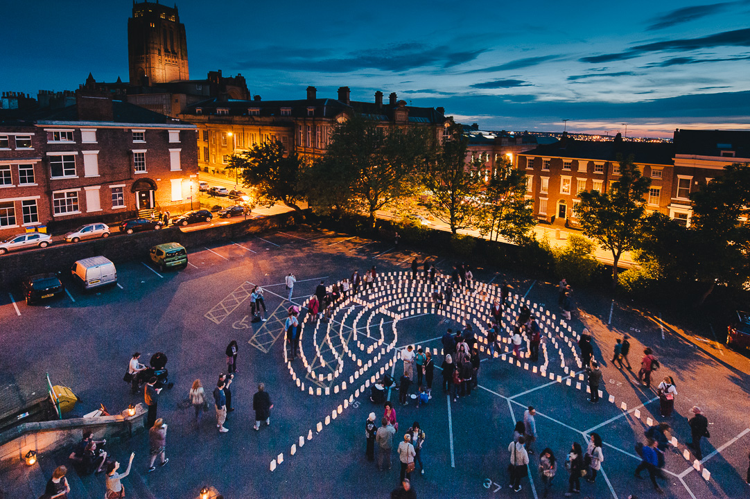 Light Night Liverpool 2014 - Candle lit labyrinth outside Blackburn House