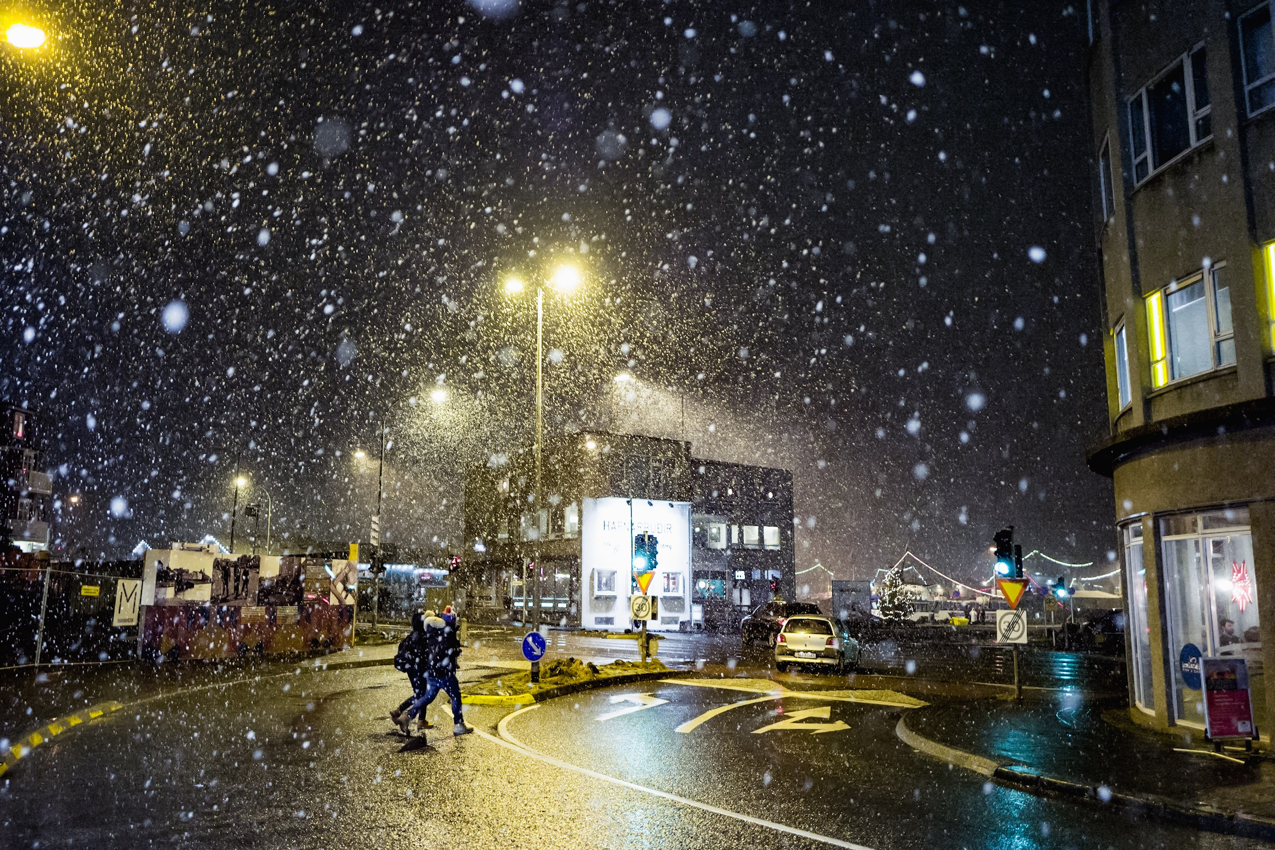Snowing in Iceland