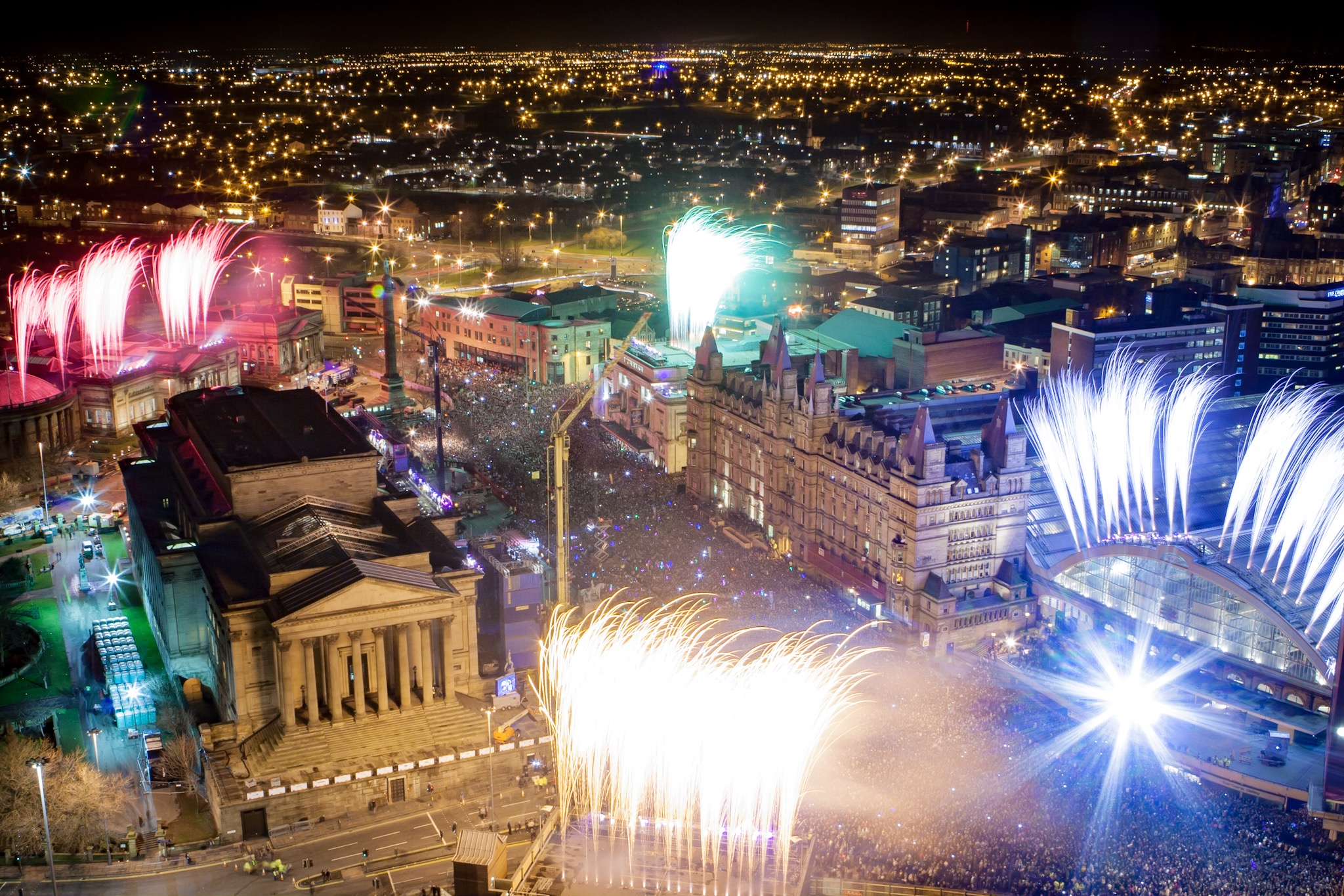 Fireworks launch from major venues in Liverpool